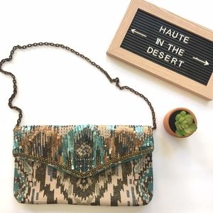 Chico's beaded sequin embellised ikat clutch purse